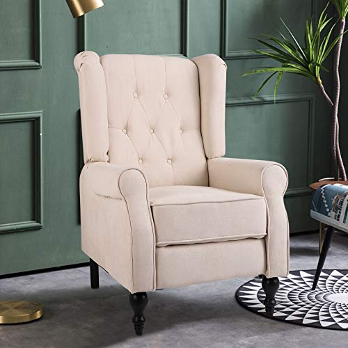 Wingback Fabric Recliner Push Back Recliner Chair with Adjustable Backrest, Thicken Padded Cushions, and Tufted Wingback Accent Upholstered Reclineing Armchair for Living Room, Home (Beige)