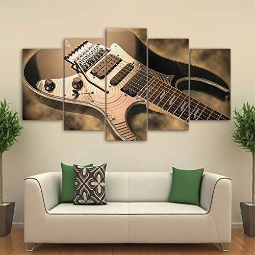 Pintura en lienzo Arte de la pared Impresiones en HD 5 piezas Imágenes de guitarra eléctrica Instrumento de música vintage 40x60 40x80 40x100cm Sin marco