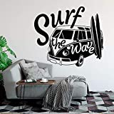 yaoxingfu Modern Wall Decal Surf The Wave with Camper Car Wall Sticker Old Vintage Auto Car Wall Mural Vinyl Camper Van Wall Poster Ay50x42cm