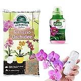Set Cura Orchidee con Terriccio da 10 Litri, Concime Liquido Radicale e Fogliare e Micro Nebulizzatore