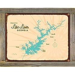 Northwest Art Mall Lake Lanier Georgia Map Rustic Metal Print on Reclaimed Barn Wood by Lakebound 9 x 12