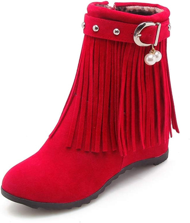 GIY Women Round Toe Ankle Boots Side Zip Flock Fringe Height Increasing Low Heel Winter Walking Boots