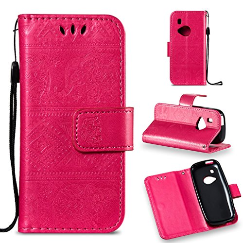 LMFULM® Hülle für Nokia 3310 PU Leder Magnet Brieftasche Lederhülle Elefant Prägung Design Stent-Funktion Handyhülle für Nokia 3310 Rose Carmine