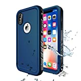 Cozycase Waterproof Case for iPhone Xs/iPhone X Case, Wireless Charging Support iPhone X Waterproof Shockproof Full-Body Rugged Case with Built-in Screen Protector for Apple iPhone X/XS (Blue)
