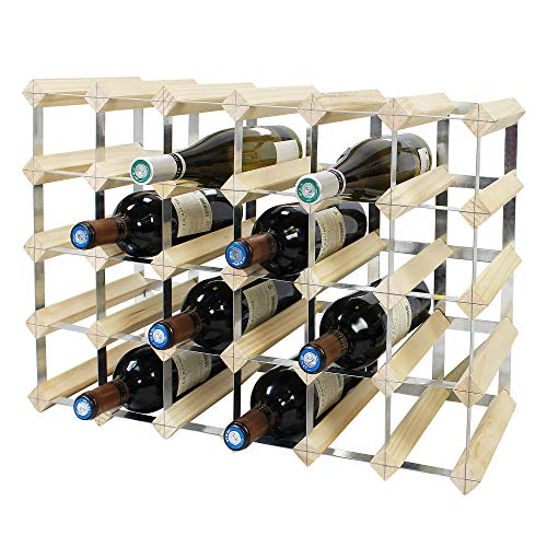 Todeco - Etagère à Vin, Range-Bouteilles, Cave à vin modulable, Casier à Bouteille, 30 Bottles, Bois Naturel, 61,2 x 42 x 22,8 cm