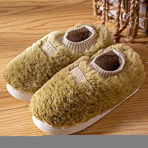 Nwarmsouth Casa Cálido Felpa Suave Invierno Pantuflas,Zapatos de algodón para el hogar con tacón de Bolso, Pantuflas cálidas de Felpa-Verde Oscuro_35-36,Zapatillas de Zapatos Easy Close para Hombre