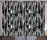 Ambesonne Black and White Curtains, Barcode Pattern Abstraction Vertical Stripes in Grayscale Colors, Living Room Bedroom Window Drapes 2 Panel Set, 108' X 96', Black Grey