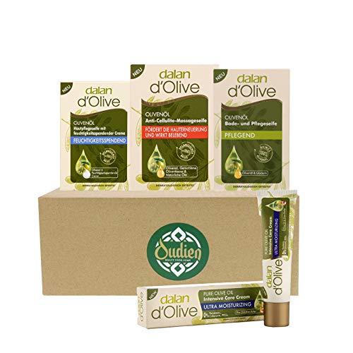OUDIEN Set aus 3x dalan d'Olive Seifen mit Massage Seife 150g, Moisturizing Pflegeseife 100g, pflegende Badeseife 200g und Feuchtigkeitscreme 20ml