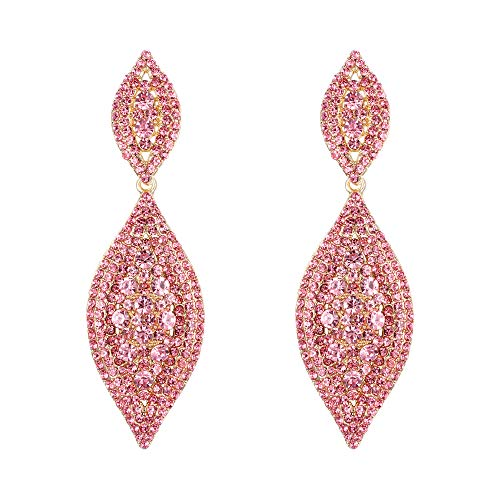 EVER FAITH Orecchini Cristallo austriaco Matrimonio Sposa Fascino 2 Foglia goccia Orecchini pendente Rosa Oro-fondo