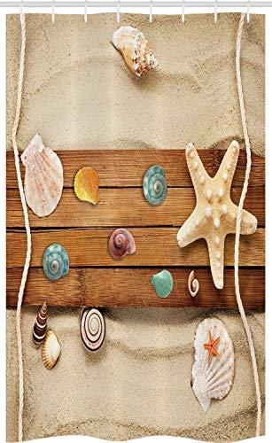ABAKUHAUS Strand Schmaler Duschvorhang, Rustikal Brett Muscheln, Badezimmer Deko Set aus Stoff mit Haken, 120 x 180 cm, Sand Braun