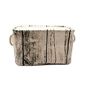 Jacone Stylish Tree Stump Design Wood Grain Rectangular Storage Basket Washable Cotton Fabric Nursery Hamper with Rope Handles, Decorative and Convenient for Kids Rooms