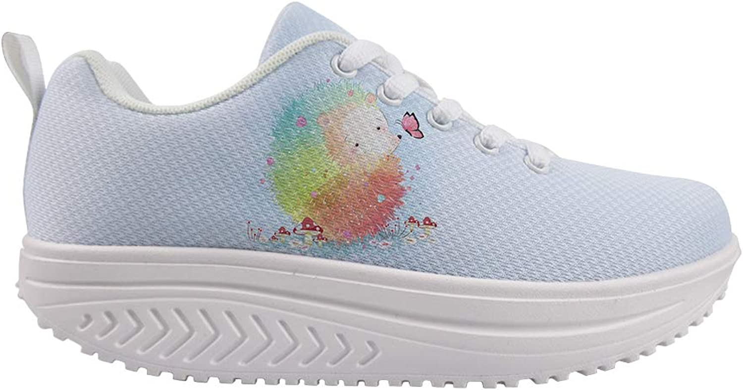 Owaheson Swing Platform Toning Fitness Casual Walking shoes Wedge Sneaker Women color Paint Hedgehog Playing with Butterfly