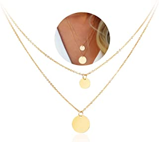 Double Gold Layered Chain Necklace Simple Disc Round Sequin Coin Necklace for Women Bridal Choker Jewelry
