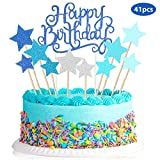 Cupcake Topper Set, enthält 40 Stück Glitter Stern Cupcake Topper und Happy Birthday Kuchen Topper Picks für Party Favors DIY (Blau Stil)