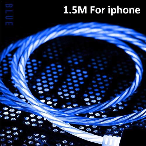 Knowled Ladekabel, 1 m, 2,4 A, Datenkabel, USB-Kabel, Schnellladekabel für iOS/Android/Typ-C Smartphone, intelligente Abschaltung, schnelles und sicheres Laden, blau, IOS - 1.5M