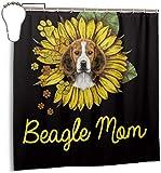 Ouzhou21 Suower Nette Lustige Beagle Dog Yellow Duschvorhang Set mit 7 To12 Haken 3D Druck Bad Vorhang Home Decora Stoff Waschbar Privatsphäre Vorhang 72 'X 72'