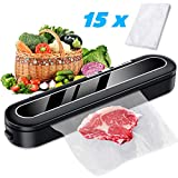 Sross Vacuum Sealer Machine, Automatic Food Sealer for Food Savers w/Starter Kit, 15 Pcs Vacuum Bags, Automatic Vacuum Air Sealing System Led Indicator Lights, Dry & Moist Food Modes