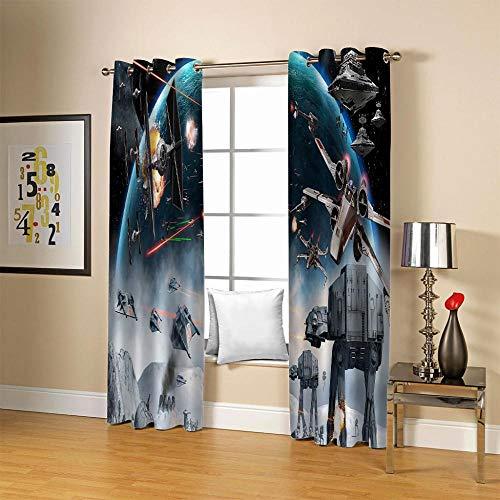 AHCMYK Cortina Decorativa Opaca con Ojales 2 Piezas 117 X 137 CM - Acorazado Galaxia, Cortina Decorativa Moderna y Elegante para Salón, Habitación y Dormitorio