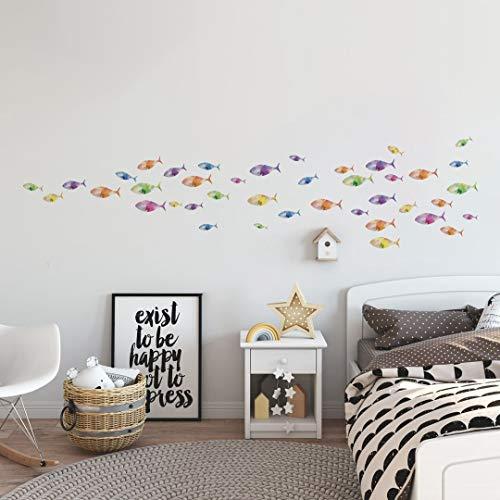 Runtoo Pegatinas de Pared Peces de Colores Stickers Adhesivos Vinilo Submarino Decorativas Baño Infantiles Habitacion Bebe