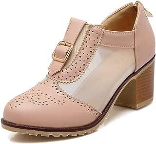 Veveca Women Chunky Mid Heel Mesh Perforated Zipper Vintage Dress Oxfords Shoe Platform Buckle Oxford Pump