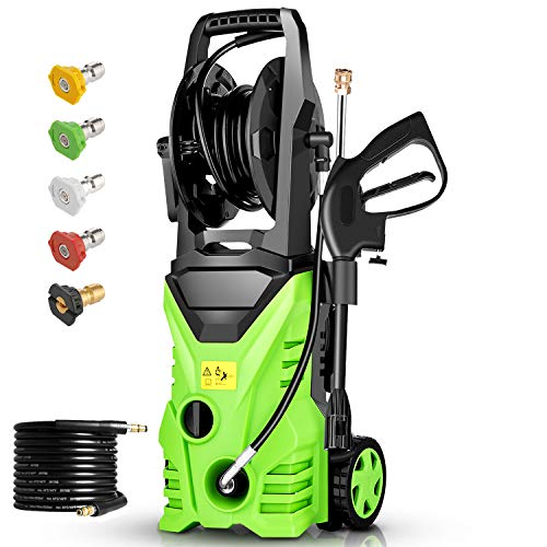 Homdox 2950 PSI Electric Pressure Washer, High Pressure Washer, Professional Washer Cleaner Machine with 5 Interchangeable Nozzles, 1800W,1.70 GPM,Hose with Reel(Green)