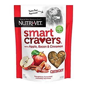 Nutri-Vet Smart Cravers Apple, Bacon & Cinnamon Healthy Dog Treats| Made with Pumpkin for Dogs | Low Calorie Treats for Dogs | Crunchy Dog Biscuits | 7 Ounces, White