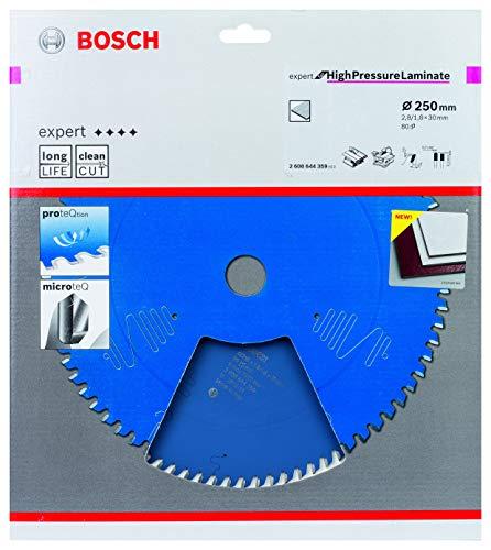 Bosch Professional 2608644359 Kreissägeblatt Expert for High-Pressure Laminate (für Hochdruck-Schichtpressstoffplatten, 250 x 30 x 2,8 mm, Zähne 80, Zubehör Kreissäge), Ø 250 mm