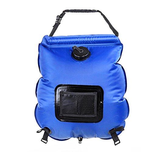Holzsammlung Douche Solaire 20L Sac d'Eau Chauffé en avec Douchette Portable Douche Camping Multi-Usage pour Voyage Randonnée Escalade Activités Extérieurs #Bleu