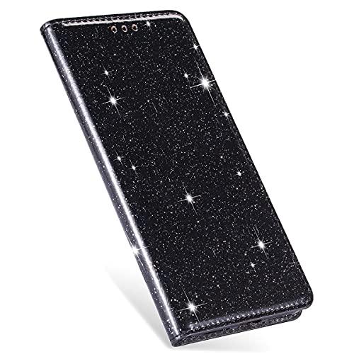 XYX Capa carteira para Huawei Mate 20 lite, capa protetora magnética de couro PU com glitter para Huawei Mate 20 lite - preta