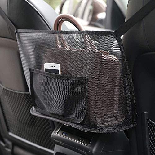 Auto-Netztasche Handtaschen, Car Net Pocket Handtaschenhalter, Autositz Aufbewahrungsnetz Tasche, Aufbewahrungstasche zwischen Autositzen Handtaschen für Snacks, Getränke, Dokumente und Telefon