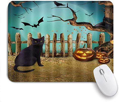 Gaming Mouse Pad rutschfeste Gummibasis, Halloween Kürbis Laterne Krähe auf Ast Ast Fledermaus Katze Ackerland Zaun, für Computer Laptop Schreibtisch