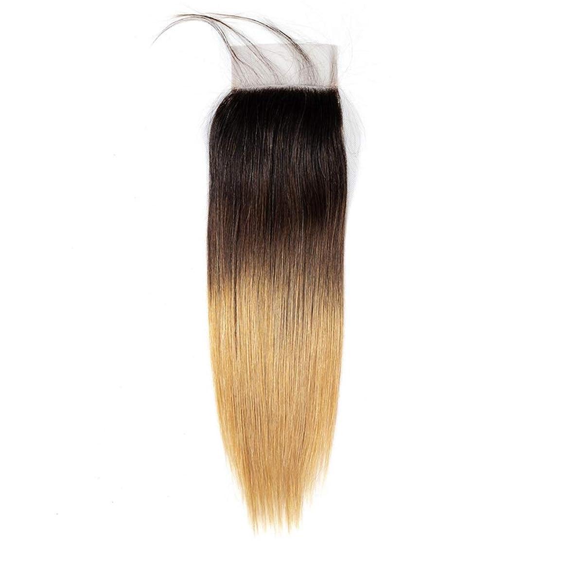 家禽デモンストレーション矩形HOHYLLYA オンブル人間の髪の毛のない部分4 x 4耳と耳のレース前頭閉鎖1B / 4/27 3トーンカラーブラウンウィッグウィッグ (色 : ブラウン, サイズ : 12 inch)