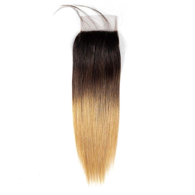 靴羊飼い扇動するHOHYLLYA オンブル人間の髪の毛のない部分4 x 4耳と耳のレース前頭閉鎖1B / 4/27 3トーンカラーブラウンウィッグウィッグ (色 : ブラウン, サイズ : 12 inch)