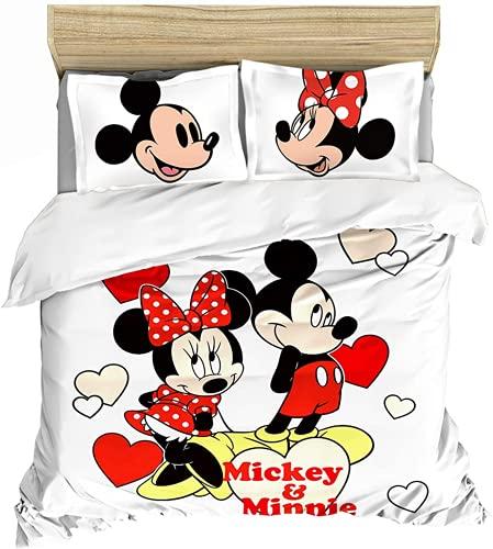 QWAS Ropa de cama de Mickey y Minnie Mouse, funda nórdica de microfibra con cremallera, ropa de cama 2/3, regalo para niños (A1,200 x 200 cm + 50 x 75 cm x 2)