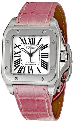 Cartier Santos 100 - Reloj (Reloj de pulsera, Femenino, Acero, Acero inoxidable, Cuero, Rosa)