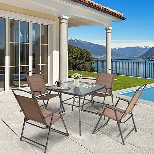dining set with foldable chairs Crestlive Products 5 Piece Patio Dining Set with 4 Folding Chairs and Table Outdoor Dining Furniture with Square Glass Tabletop, Umbrella Hole for Bistro, Garden, Backyard, Deck (Brown)