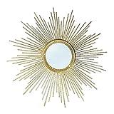 Zzkjbox espejo art deco dorado con forma de sol, espejo de pared redondo, marco de metal de hierro forjado, espejo plateado hd,gold-70cm/28in