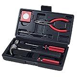 Hogar herramientas de mano – 7 piezas Juego de herramienta por Trimate, Set incluye – Martillo, destornillador, alicates (Kit de herramientas para el hogar, la oficina, o en el coche) (Rojo)