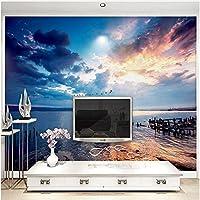 Lcymt 夕焼け空海辺風景写真壁紙リビングルームテレビソファテーマホテルの背景壁の装飾壁画-120X100Cm