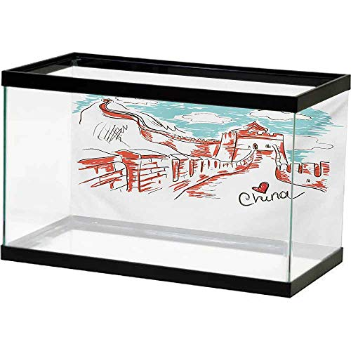 bybyhome Underwater Poster Fish Tank Great Wall of China,Oriental Colorful Tourist Hand Drawn Chinese Travel Art with a Heart,Aqua Ruby Multiple Sizes