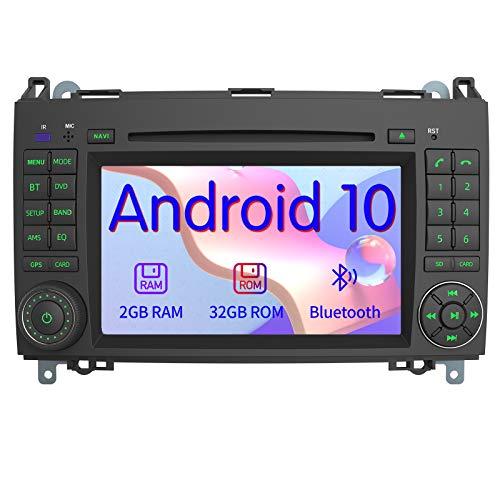 AWESAFE Android 10 Autoradio mit Navi für Mercedes-Benz A Klasse/B Klasse/Vito/Sprinter, unterstützt DAB+ WLAN CD DVD Bluetooth MirrorLink 2 Din 7 Zoll Bildschirm
