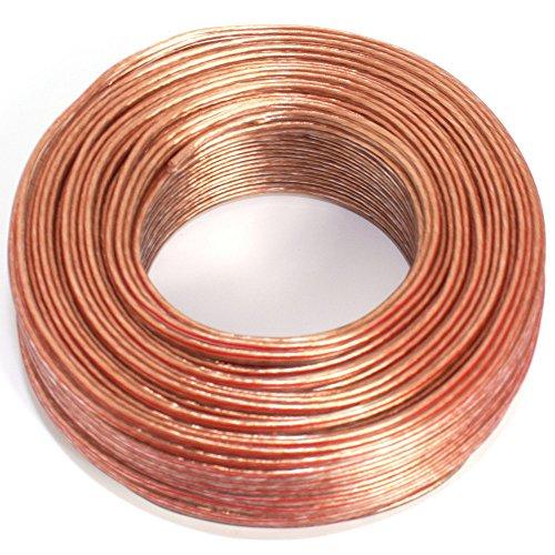 Cable para Altavoz (2x 0,50mm2–Caja de Cable de Audio–Cable 0,50mm2-50m Transparente