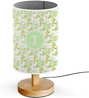 [ INITIAL LETTER T ] Monogram Name USB POWERED Wood Base Desk Table Bedside Lamp [ Camouflage ]