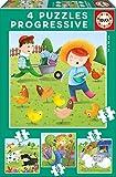 Educa Borrás - Animales de la Granja Set de 4 puzzles progresivos de...