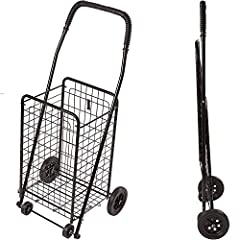 FOLDING SHOPPING CART for on the go as it folds easily to fit into the back of your car, or on public transportation, plus it hooks on to most retail shopping carts and easily rolls across most surfaces. STRONG AND LIGHTWEIGHT FOLDING CART is only 7....