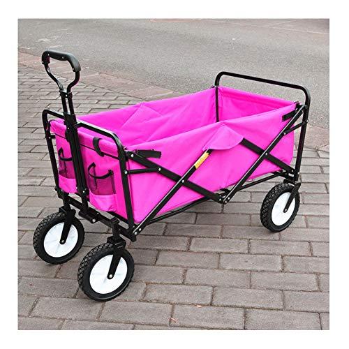 GUTYRE Tire Utilidad Carro Plegable Plegable de la Carretilla de la Compra, de Gran Capacidad y 4 Ruedas para Acampar al Aire Libre Barbacoa jardinería Compras Playa,Pink