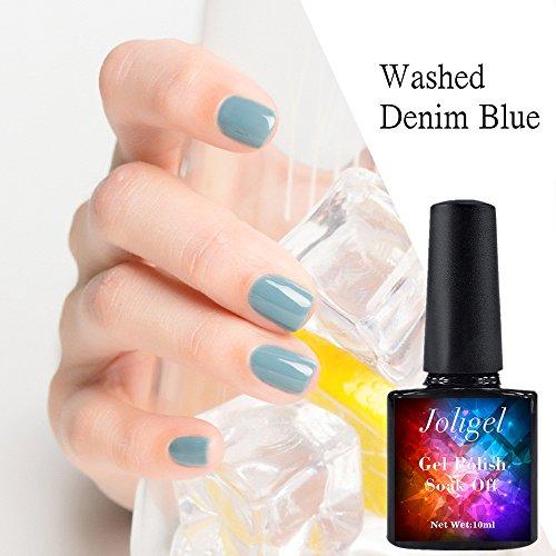 Joligel 10ml Vernis Permanent Ongles UV LED pour Manucure Nail Art Bleu Jean Denim Eté Fraîcheur
