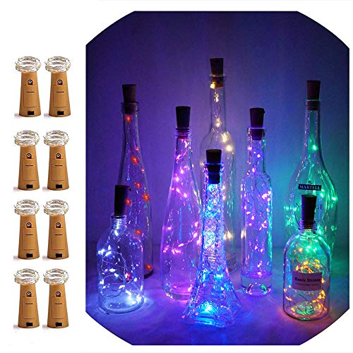 LoveNite Wine Bottle Lights with Cork, Battery Operated 15 LED Cork Shape Silver Wire Colorful Fairy Mini String Lights for DIY, Party, Decor, Christmas, Halloween,Wedding (Multicolor)