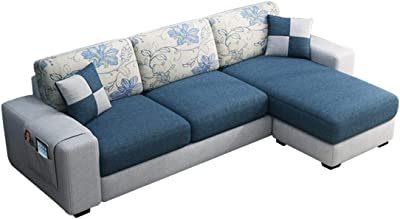 Furny Orlando Fabric 4 Seater RHS L Shape Sofa Set (Blue-Grey)