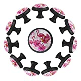 estilo magnífico gabinete de cerámica perillas tire manijas para muebles armario cajón armario cocina baño,Flamencos rosados flores tropicales